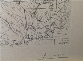 le repos du sculpteur et la sculpture surr (signature) by pablo picasso