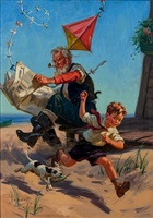 grandpa and grandson with kite by henry (hy) hintermeister