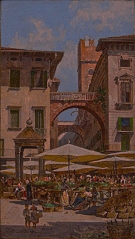 market day in the plaza, verona, italy by antonietta brandeis