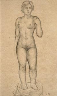 femme nue debout de face by aristide maillol