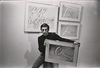 ed rusha with his paintings, december 9, 1967 by fred w. mcdarrah