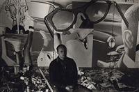 jim rosenquist, front street with paintings, march 30, 1963 by fred w. mcdarrah