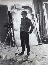 andy warhol grinding away at filming in his studio, september 5, 1964 by fred w. mcdarrah