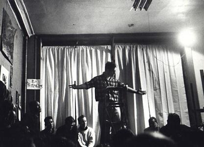 jack kerouac reading beatnik poetry in lower east side loft, february 15, 1959 by fred w. mcdarrah