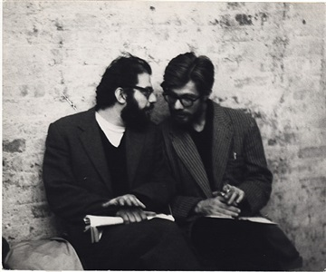 allen ginsberg and peter orlovsky at the living theater, november 13, 1959 by fred w. mcdarrah