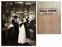 suzy parker and gardner mckay, dress by balmain, café des beaux-arts, paris, august (+ book, richard avedon: made in france) by richard avedon