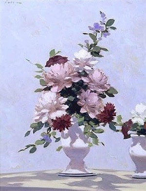 still life with peonies in two white vases by andré gisson