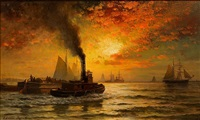sunset, new york harbor by edward moran