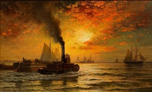 sunset, new york harbor by edward moran