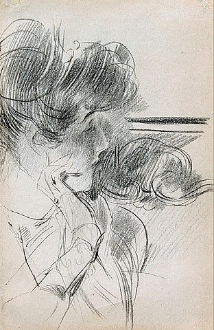 a young lady in profile by giovanni boldini
