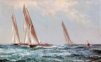 yachts racing up the clyde, scotland by montague dawson