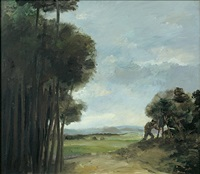 landschaft mit maler by harald metzkes