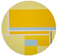pale yellow tondo with blue by ilya bolotowsky