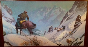 cowboys in a blizzard on a high mountain pass by edward t. grigware