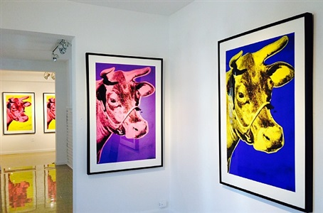 three cows, installation view by andy warhol