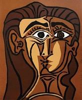 tête de femme (portrait de jacqueline de face ii) by pablo picasso