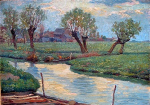 river landscape on the lys by emile claus