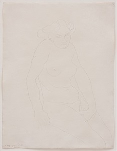 seated female nude, her hand on her sex by auguste rodin