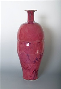 large vase, rose red copper glaze by brother thomas