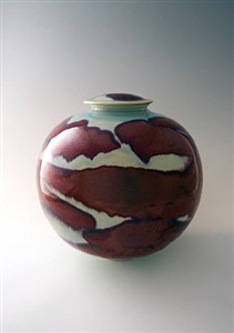 large globular vase with cover copper red with opal blue celadon by brother thomas
