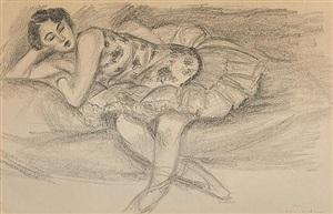 dix danseuses: danseuse au divan pliée en deux by henri matisse