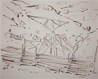 landscape with fence by john ward lockwood