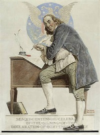ben franklin : sesquicentennial of the signing of the declaration of independence by norman rockwell