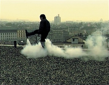 action sur le toit, saint-gervais, genève (filmstill) by roman signer
