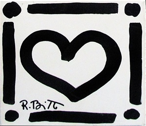 white heart by romero britto