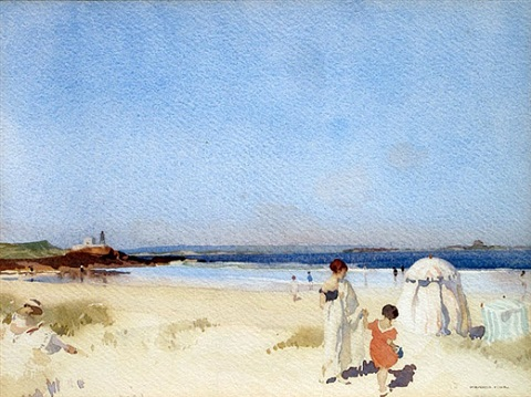 a blue day, bamburgh by william russell flint