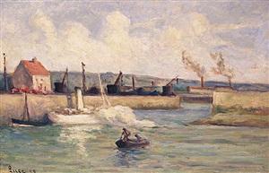 honfleur, l'entrée du port by maximilien luce