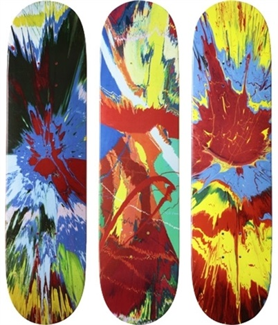 spin skateboards complete set of 3 by damien hirst