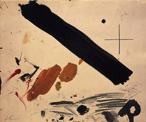 franja negra i taques / black stripe and spots by antoni tàpies