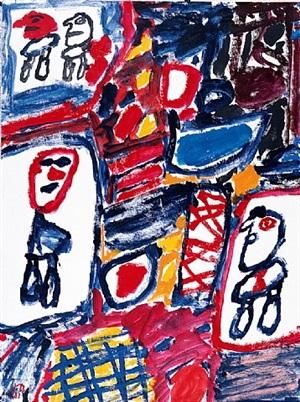 site avec 4 personnages (e 126) 13 mai 1981 by jean dubuffet