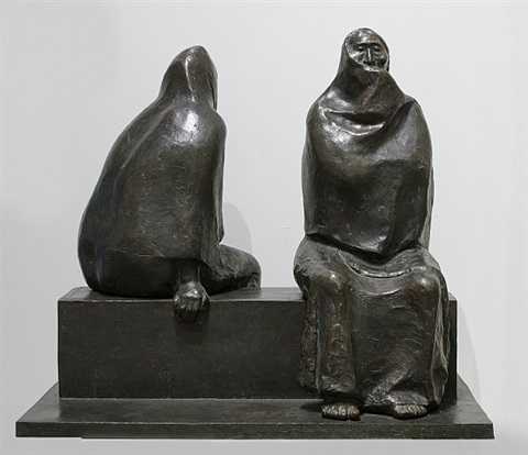 madre e hija sentadas by francisco zúñiga