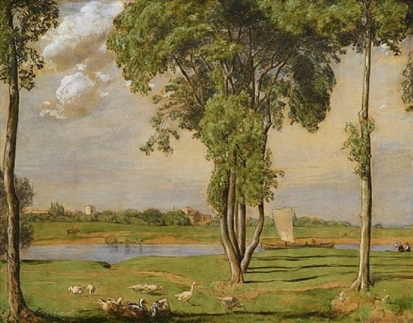 paysage du main animé d'une barque à voile et de canards by hans thoma