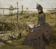 draughtswoman at the banks of the scheldt by victor lagye