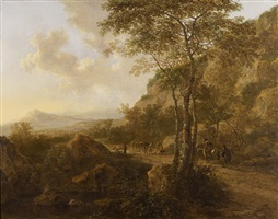 an italianate landscape with travelers by jan dirksz both