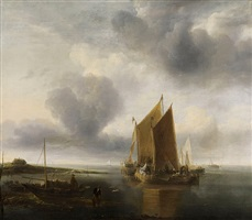 calm with two smalschips by jan van de cappelle