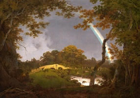 landscape with a rainbow by joseph wright (of derby)