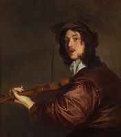 a man, possibly the artist, playing the violin by sir peter lely