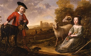portrait of a boy aged 9, and a girl aged 7, with a goat and two sheep in an italianate landscape, a herdsman with his cattle by ruins beyond. by aelbert cuyp and jacob gerritsz cuyp