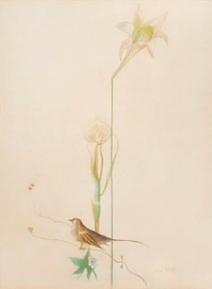 lily and bird by joseph stella