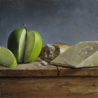 still life with green apple by michael naples