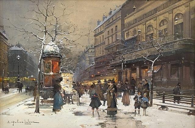 les grands boulevards sous la neige by eugène galien-laloue