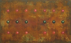 trigram (mountain) - red and green on rust by yang hong