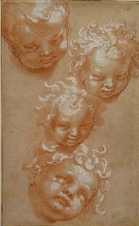 study of four children's heads <br />verso: study of a seated bishop by abraham bloemaert
