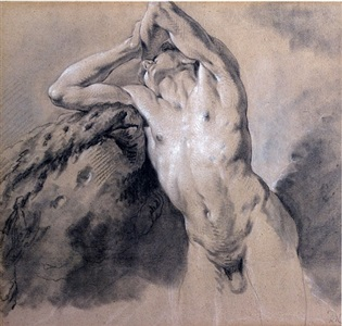 study of a male nude leaning on a rock by jean-baptiste descamps