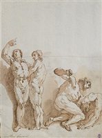 study of male nudes in combat by francesco salvator fontebasso
