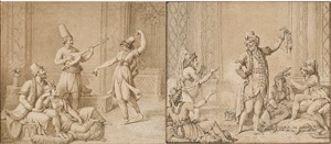 a pair: scenes of a harem by nicolas-andré monsiau